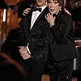 Blaine (Darren Criss) and June Dolloway (guest star Shirley MacLaine) perform.