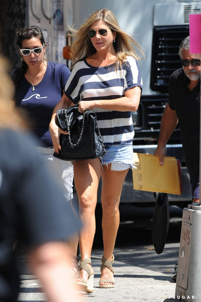 Jennifer Aniston arrived on set on July 29.