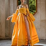 An Orange Dress Over Pants From the Rosie Assoulin Presentation During New York Fashion Week