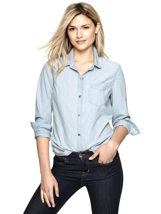 For the stylish answer to a lightweight cover-up or a cool-girl version of the button-down, the chambray shirt, like this Gap chambray boyfriend shirt ($50), is a go-to in our Spring closets.
