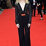 Emma Stone wore a black jumpsuit to the UK premiere of The Amazing Spider-Man.