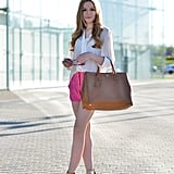 Bright shorts gave this white button-down a seasonal — and so on-trend — feel. Source: Lookbook.nu