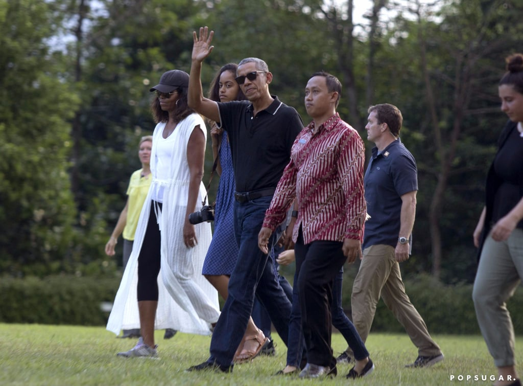 Michelle Obama Wearing White Caftan