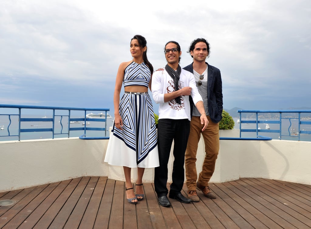 Freida Pinto got together with her costars at Desert Dancer photocall at the Cannes FIlm Festival.