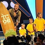 Cruz, Romeo, and Brooklyn all sported matching crew cuts on stage with dad David Beckham at the 2008 Teen Choice Awards in LA.