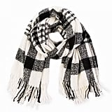Glitzhome Plaid Scarf With Tassels