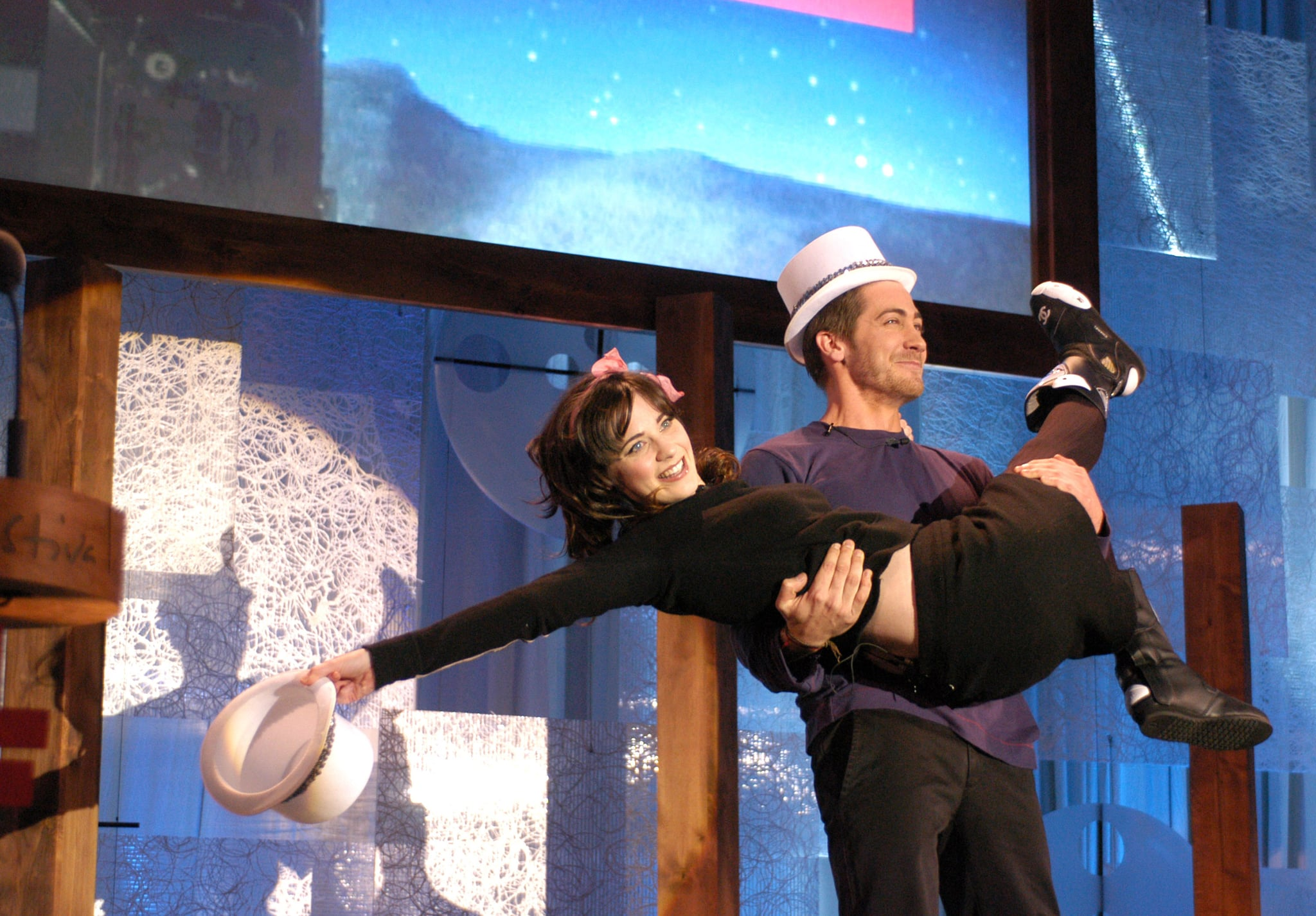 He and Zooey Deschanel performed a silly skit together during the 2004 Sundance Film Festival Awards.