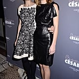 Marion Cotillard paused for photos with a friend.