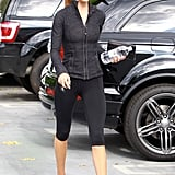 Rosie Huntington-Whiteley looking chic in all black as she heads out for her morning workout.