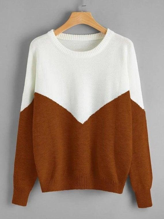 Ago Deal Women Color Block Drop Sweater