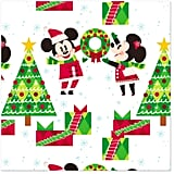 Disney Mickey and Minnie With Christmas Trees Wrapping Paper