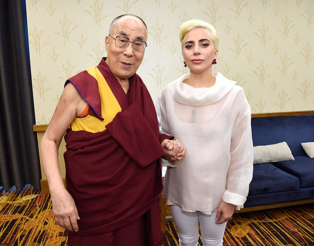 "Lady Gaga has always been vocal about the importance of love, kindness, and compassion among today's youth, and she continued to spread her message at the US Conference of Mayors in Indianapolis on Sunday. The singer and actress joined His Holiness the Dalai Lama at the event to talk about building ""compassionate cities"" around the country. During her speech, Gaga told city representatives, ""Kindness is a free currency from a well that will never dry up,"" and, ""The most efficient way for you to act with young people is to be a calming force."" She also shared photos of herself on Instagram with the Tibetan leader, who she was photographed embracing backstage. Gaga made another heartfelt speech earlier this month at a vigil outside LA City Hall for the victims of the Pulse nightclub shooting in Orlando, FL. She tearfully told the crowd, ""I gather humbly with you as a human being in peace, in sincerity, in commitment, in solidarity, to take a real moment and mourn the tragic loss of these innocent, beautiful people,"" and read the names of those killed as people held up signs spelling ""Orlando"" behind her."