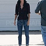 Courteney Cox wore cropped jeans.