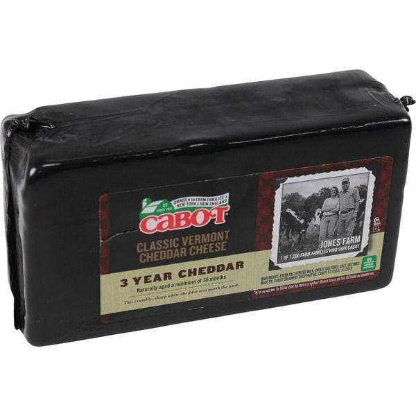 Cabot Creamery 3-Year Aged White Cheddar ($15 per pound)