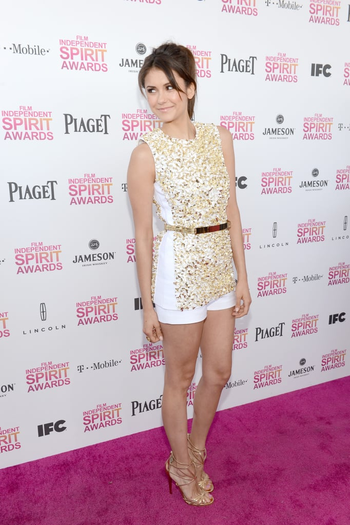 Nina Dobrev walked the red carpet at the Spirit Awards.