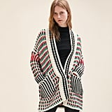 Maje Long Multi-Colored Knit Cardigan