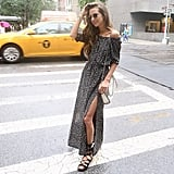 An Off-the-Shoulder Dress, Sandals, and Sunglasses