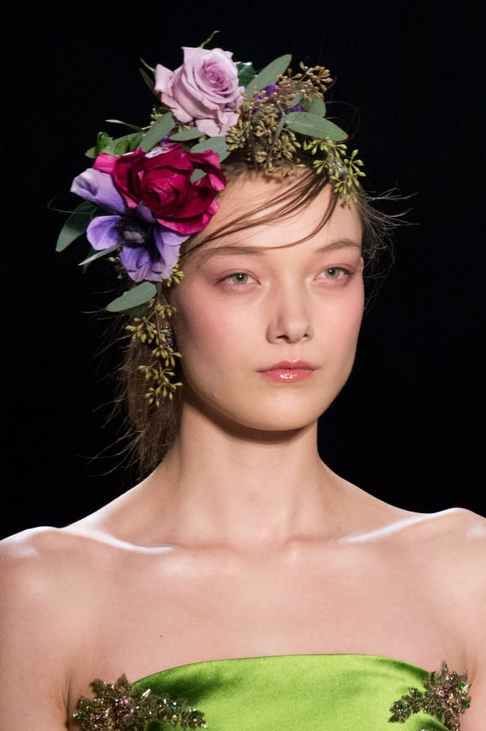 Marchesa Flowers Sewn Hair New York Fashion Week Fall 2017