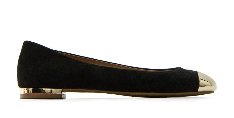 We've been loving the cap-toe look this season and this ballet flat iteration strikes a classic Audrey Hepburn-inspired note. Mango Metallic Toe Ballerina Flat ($110)