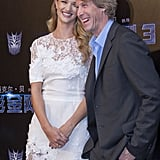 Rosie Huntington-Whiteley with Michael Bay in China for Transformers: Dark of the Moon.