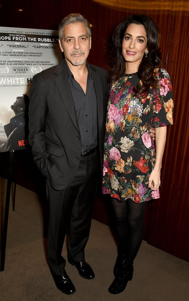Amal debuted her baby bump in January, wearing a floral Dolce & Gabbana minidress to a Netflix screening in London.