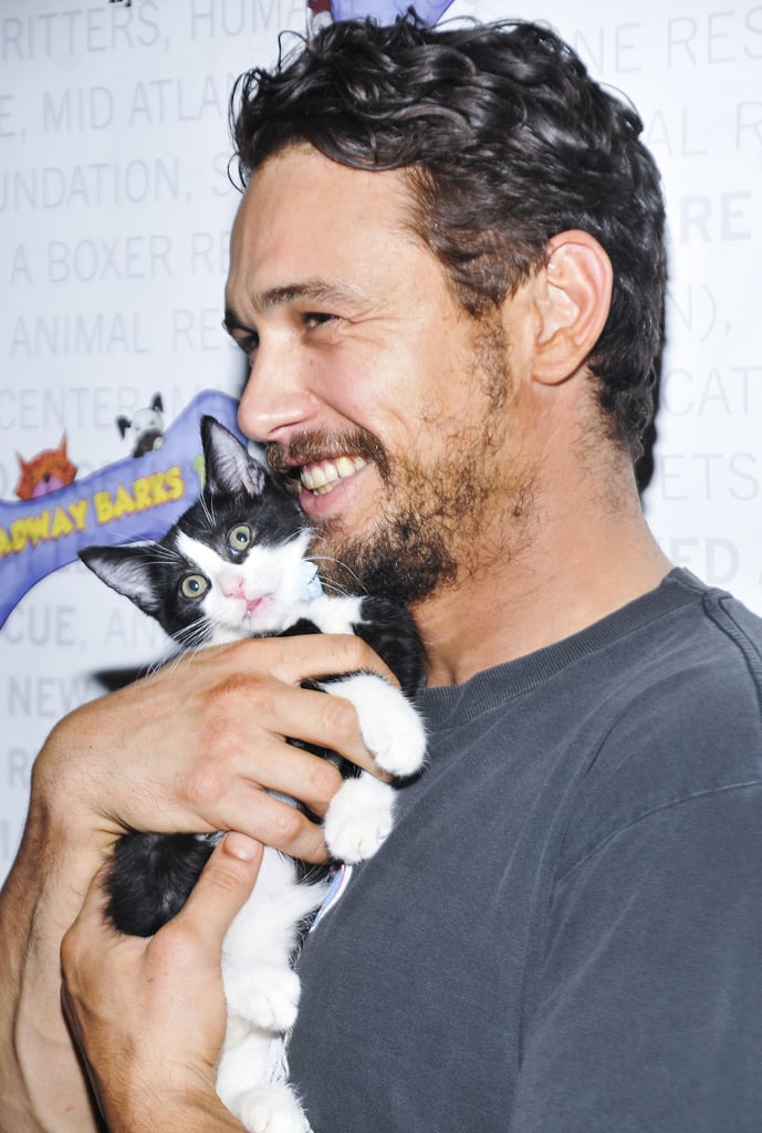 James Franco snuggled up to kitten Totes Magotes at the Broadway Barks event in NYC on Saturday.