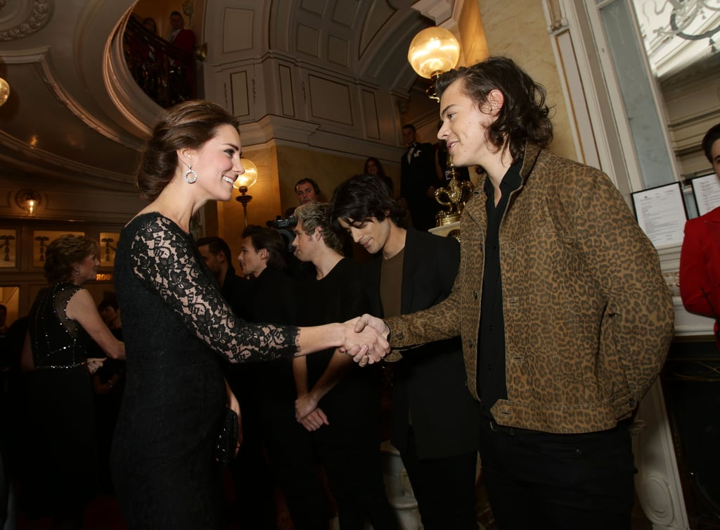"""The Duke and Duchess of Cambridge stepped out for an exciting event on Thursday, attending the annual Royal Variety Performance for the first time ever. Expectant mum Kate Middleton wore a black Diane von Furstenberg dress for the night out, while William looked dapper in a suit. This year's show took place at the Palladium Theatre in London, where artists like One Direction, Ed Sheeran, Ellie Goulding, and Demi Lovato hit the stage for a show that featured popular singers, comedians, and dancers. When Harry Styles was asked about meeting Kate, he told reporters, """"I said congratulations on the bump. [Though] she didn't look bumpy.""""  The tradition of the Royal Variety Performance dates back to 1912, with members of the royal family attending the show each year to show their support. Proceeds from the event are donated to the Entertainment Artistes' Benevolent Fund, which helps support artists throughout the UK, and Queen Elizabeth II is a patron of the organisation. Take a look at all the best pictures from the Royal Variety Performance!"""