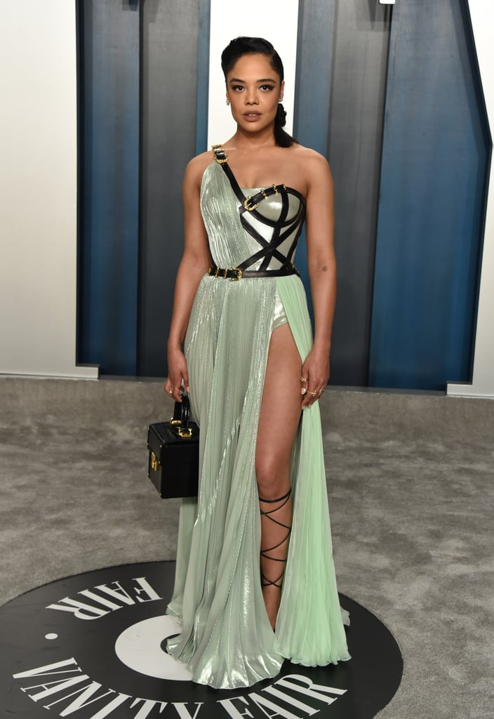 Tessa Thompson Wearing a One-Shoulder Gown in 2020
