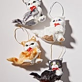Furry Bow-Tie Cat Christmas Ornaments