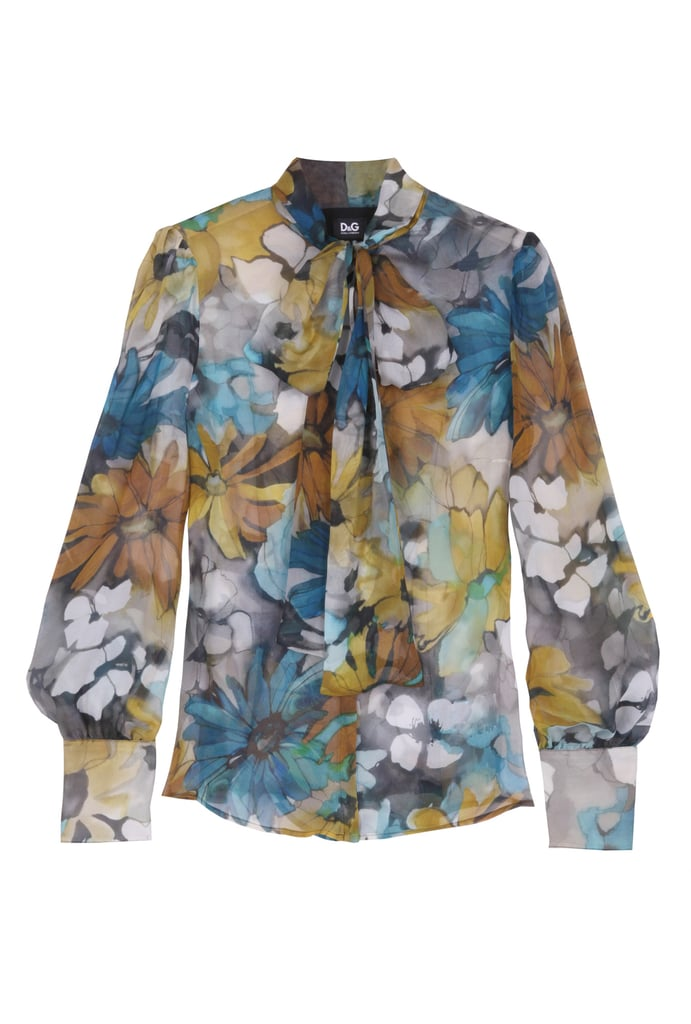 """My-Wardrobe buyer Joanne Watkinson explains her choices. """"My transitional wardrobe from Spring/Summer to Autumn/Winter always starts with a great blouse..this D&G Daisy print blouse is my starting block, I love the autumnal shades, and it looks great with..."""""""