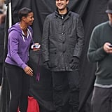 Joshua Jackson and Karina LeBlanc entertained themselves on set.