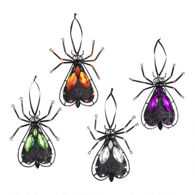 Jeweled Metal Fly Ornaments Set of Four