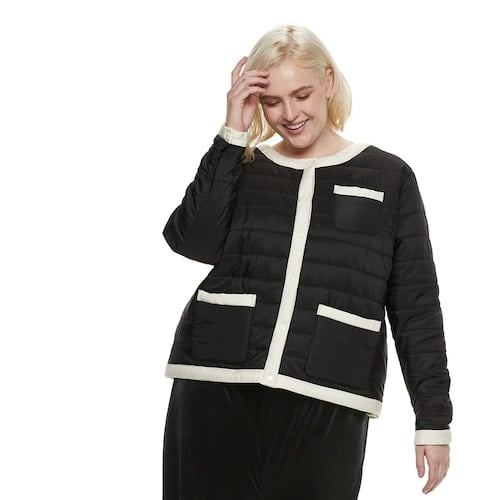 POPSUGAR Plus Size Colorblock Puffer Jacket