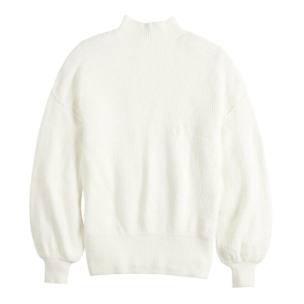 POPSUGAR Balloon-Sleeve Funnel-Neck Sweater