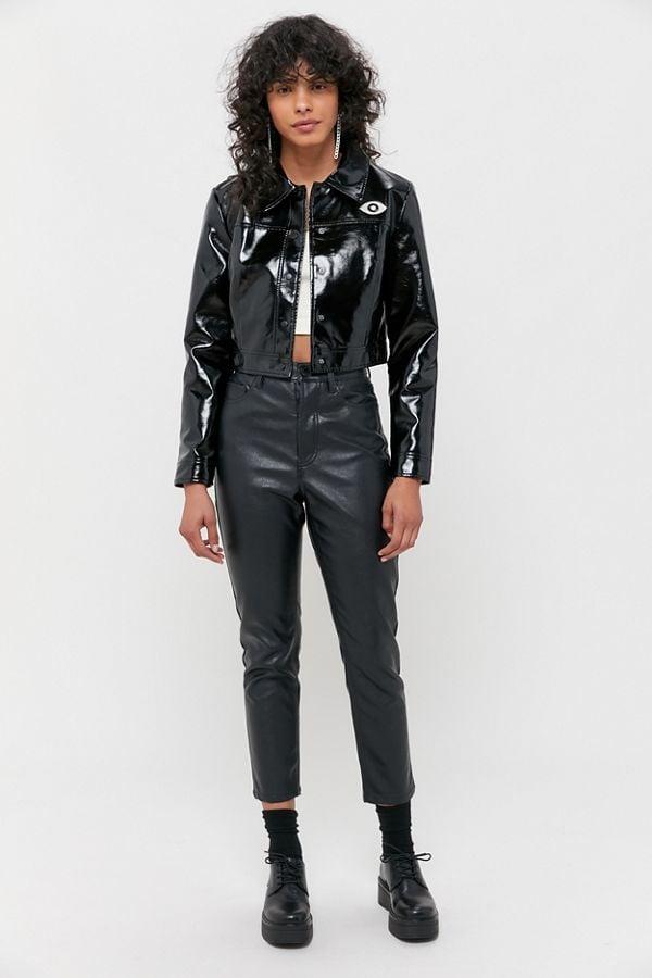 Veda Vegan Patent Leather Cropped Jacket