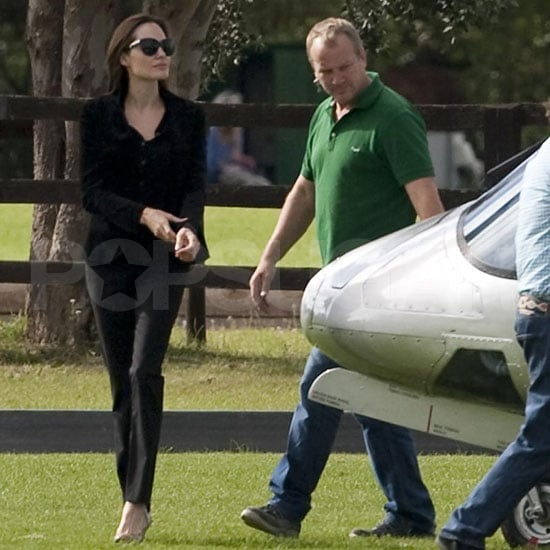 Angelina Jolie Pictures Leaving London in a Helicopter