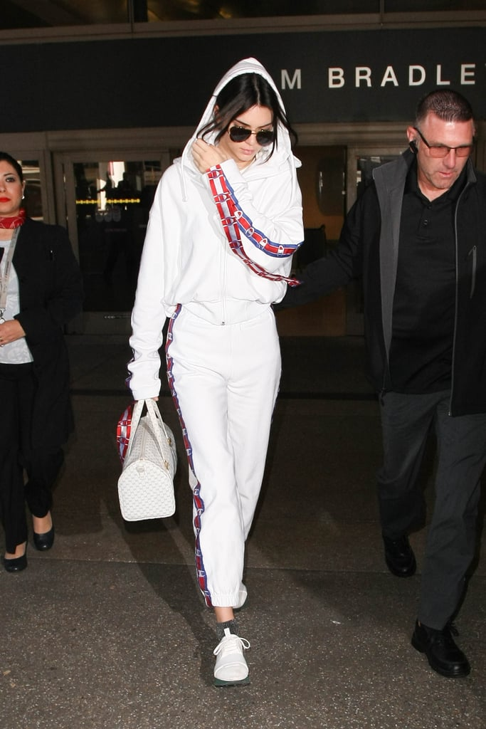 Kendall's Vetements x Champion set is a go-to for long plane rides during Fashion Month.