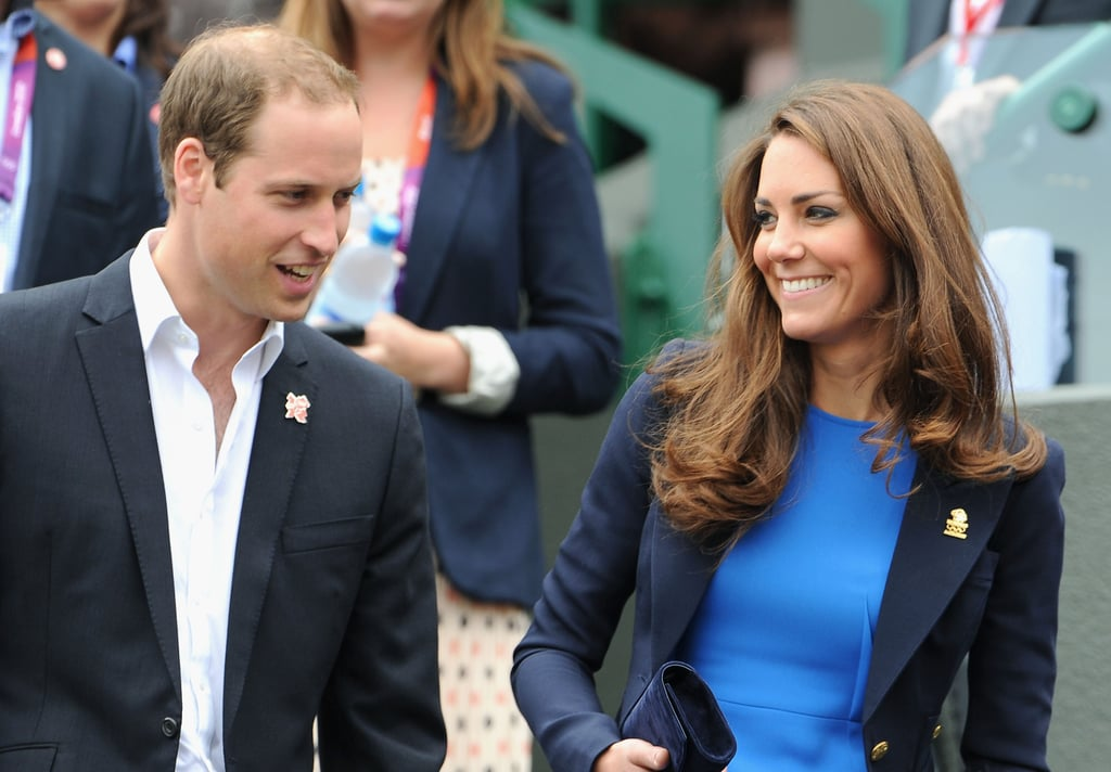 The duke and duchess of Cambridge shared a laugh while leaving the Quarterfinal of the Men's Singles Tennis match.