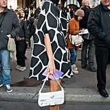 Leave it to Giovanna to give the giraffe print an ultrapolished edge — and we wouldn't mind having those white T-strap pumps in our closet.