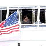 An American flag waved off Eva Longoria's yacht during a May 2011 trip to Miami.