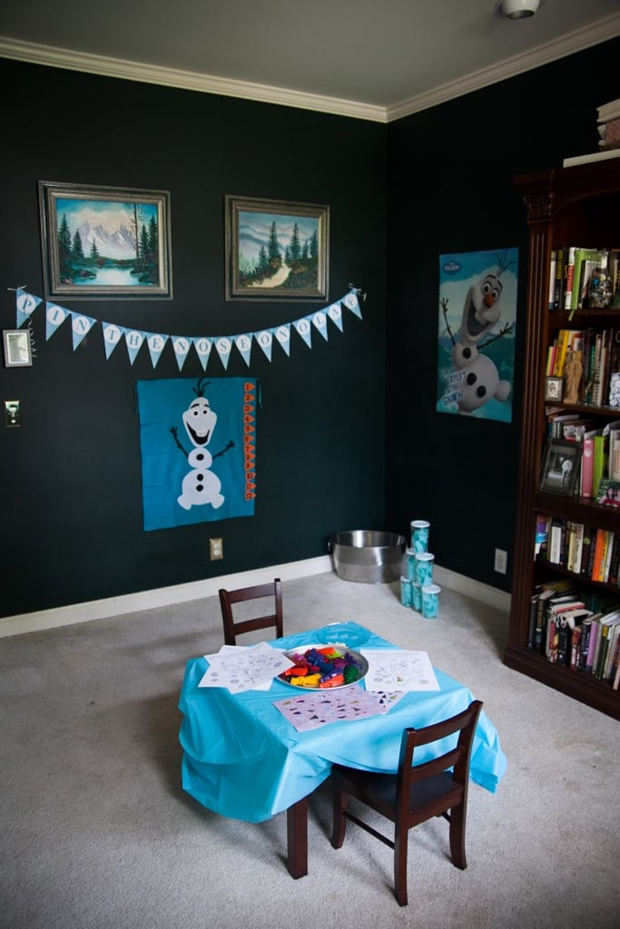 """Anna created a games area dubbed """"The Ice Room,"""" and it was such an adorable place for her young guests to enjoy fun activities!"""