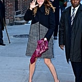 Julia wore a mixed tweed jacket and pointed-toe pumps for a visit to the Late Show With David Letterman back in December 2013.