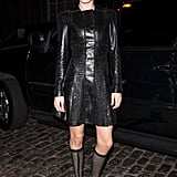 Doutzen Kroes wore a dramatic studded leather Versace dress and equally attention-grabbing boots.
