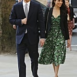When he attended the Invictus Games Reception in April 2018, Harry wore a dark blue suit with a white shirt and grey tie, while Meghan stunned in a floral Self Portrait dress.