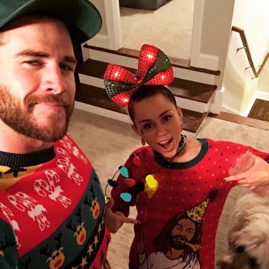 Miley Cyrus and Liam Hemsworth in Christmas Sweaters 2016