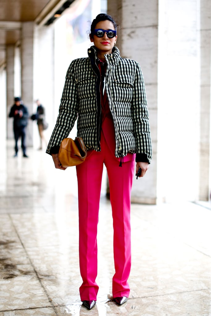 Pink pants added whimsy to a Winter puffer.