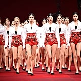 See who's got the lead there? Yep, it's none other than Kendall Jenner fronting the runway at Dolce & Gabbana's Spring 2015 collection launch on Sunday.