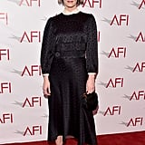 Sarah Paulson slipped into an understated Maison Mayle dress and strappy Tamara Mellon heels.