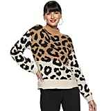 Nine West Petite Leopard Print Sweater