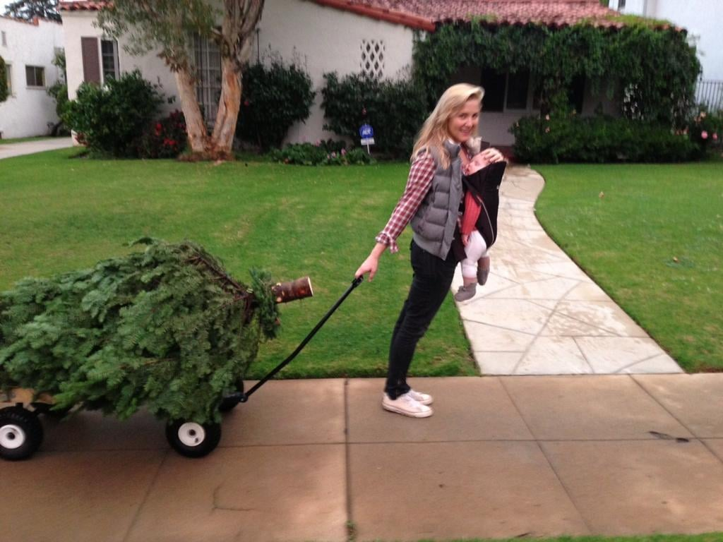 Jessica Capshaw had her hands full with lil Poppy and the family's Christmas tree. Source: Twitter user Christopher_Gav